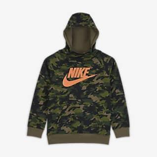 Nike Sudadera con capucha sin cierre y estampado de camuflaje para niño talla pequeña