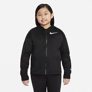 Nike Therma-FIT Sudadera de entrenamiento con gorro de cierre completo para niña talla grande