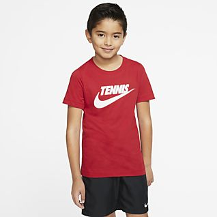 NikeCourt Dri-FIT Tennis-T-shirt med grafik til store børn (drenge)