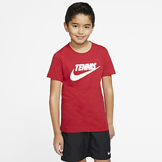 NikeCourt Dri-FIT Tennis-t-shirt med tryck för pojkar