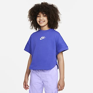 Nike Sportswear Playera de manga corta de tela French Terry para niñas talla grande