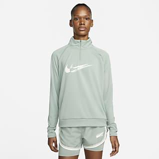 Nike Dri-FIT Swoosh Run Mellanlager med 1/4-dragkedja för kvinnor