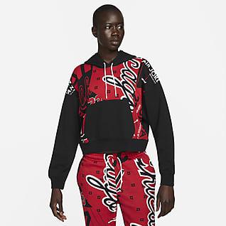 Jordan เสื้อมีฮู้ดผ้าฟลีซพิมพ์ลายทั่วตัวผู้หญิง