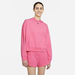 Nike Sportswear Γυναικεία μπλούζα με κουκούλα και ξεθωριασμένη όψη