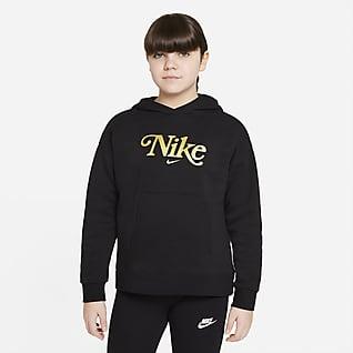 Nike Sportswear Club Fleece Mikina pro větší děti (dívky) skapucí (rozšířená velikost)
