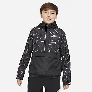 Nike Sportswear Gewebte Anorak-Jacke mit Print für ältere Kinder (Jungen)