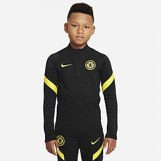 Chelsea FC Strike Treningowa koszulka piłkarska dla dużych dzieci Nike Dri-FIT