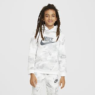 Nike Sportswear Club Fleece Sudadera con capucha sin cierre estampada para niños talla grande