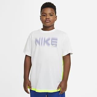 Nike Trophy Prenda para la parte superior de entrenamiento estampada de manga corta para niño talla grande (talla extendida)
