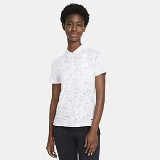 Nike Dri-FIT Kurzarm-Golf-Poloshirt mit Print für Damen