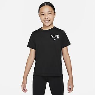 Nike Dri-FIT Practice Prenda superior de softball de manga corta para niña talla grande