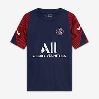 Paris Saint-Germain Strike Kurzarm-Fußballoberteil für ältere Kinder
