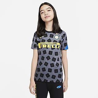Inter de Milán Camiseta de fútbol de manga corta para antes del partido para niños talla grande