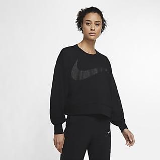 Nike Dri-FIT Get Fit Damska dzianinowa błyszcząca koszulka treningowa