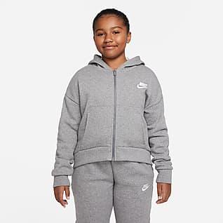Nike Sportswear Club Fleece Bluza z kapturem i zamkiem na całej długości dla dużych dzieci (dziewcząt) – o wydłużonym rozmiarze