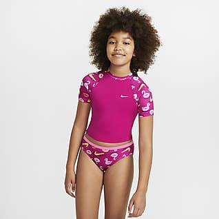 Nike Big Kids' (Girls') Short-Sleeve Crop Top Swim Set
