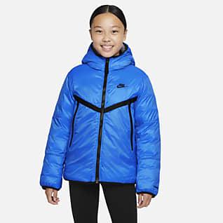 Nike Sportswear Therma-FIT Windrunner-jakke med syntetisk fôr til store barn