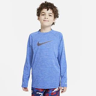 Nike Heather Big Kids' (Boys') Long-Sleeve Hydroguard Swim Shirt