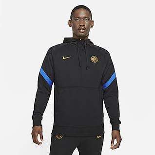 Ίντερ Ανδρική φλις ποδοσφαιρική μπλούζα με κουκούλα και φερμουάρ στο μισό μήκος