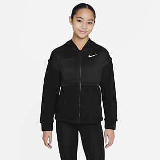 Nike Hosszú cipzáras, kapucnis pulóver nagyobb gyerekeknek (lány)