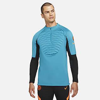 Chelsea FC Strike Winter Warrior Męska treningowa koszulka piłkarska Nike Therma-FIT