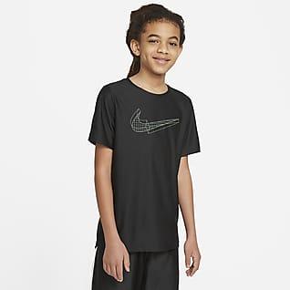 Nike Koszulka treningowa z krótkim rękawem i grafiką dla dużych dzieci (chłopców)