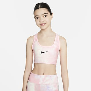 Nike Swoosh Older Kids' (Girls') Tie-Dye Reversible Printed Sports Bra