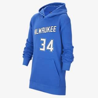 Janis Adetokunbo Bucks City Edition Mikina Nike NBA s kapucí pro větší děti
