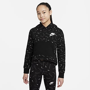 Nike Sportswear Huvtröja i fleece med tryck för ungdom (tjejer)