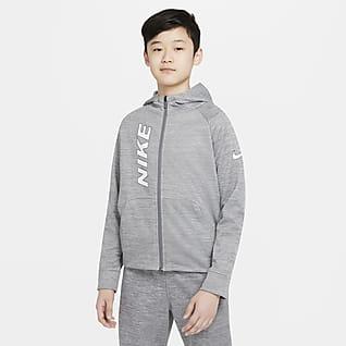 Nike Therma-FIT Sudadera con capucha de entrenamiento con gráfico de cierre completo para niños talla grande