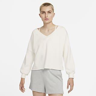 Nike Yoga Luxe Camiseta con cuello en V de Tejido Fleece para mujer