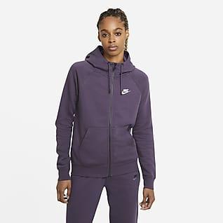 Nike Sportswear Essential Huvtröja i fleece med fullängdsdragkedja för kvinnor