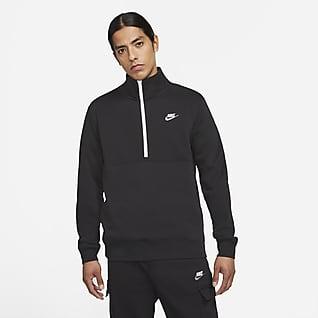 Nike Sportswear Club Pánská mikina sčesaným vnitřkem apolovičním zipem