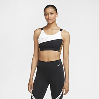 Nike Swoosh Dámská metalická sportovní podprsenka se střední oporou