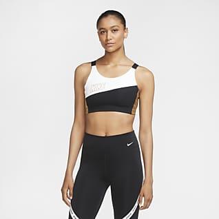 Nike Swoosh Metallic-Sport-BH mit mittlerem Halt für Damen
