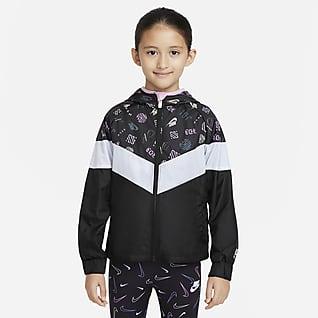 Nike Sportswear Windrunner Jakke med lynlås i fuld længde til mindre børn