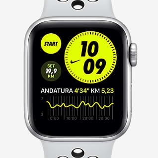 Apple Watch Nike SE (GPS + Cellular) con Nike Sport Band Cassa in alluminio color argento - 44 mm