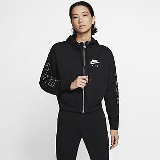 Nike Air Fleecehættetrøje med lynlås til kvinder