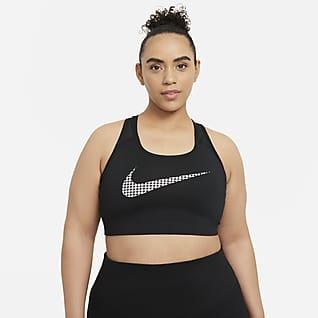 Nike Dri-FIT Swoosh Icon Clash Dámská sportovní podprsenka bez vycpávek sestřední oporou (větší velikost)