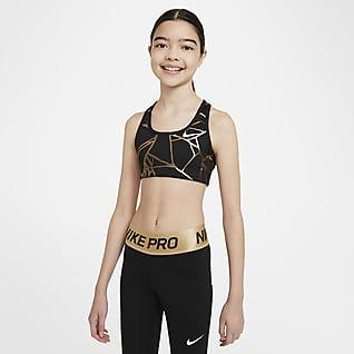 Nike Swoosh Vändbar sport-BH med tryck för tjejer