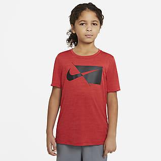 Nike Prenda superior de entrenamiento manga corta para niño talla grande