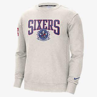 Philadelphia 76ers Nike Courtside Sudadera con capucha de cuello redondo Nike NBA de tejido Fleece para hombre