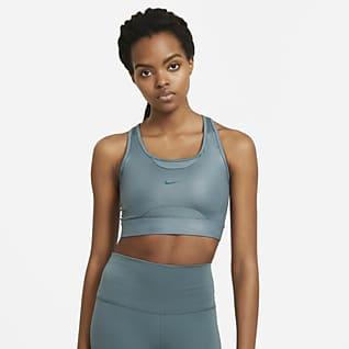 Nike Swoosh Bra deportivo brillante de línea larga con almohadilla de una sola pieza de media sujeción para mujer