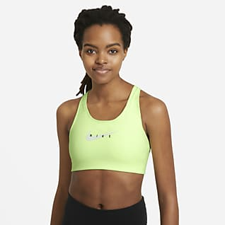 Nike Sportswear Dri-FIT Swoosh Sports-BH med grafikk, innlegg i ett stykke og middels støtte til dame