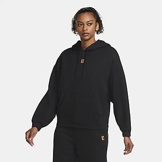NikeCourt Sudadera con capucha de tenis de tejido Fleece para mujer