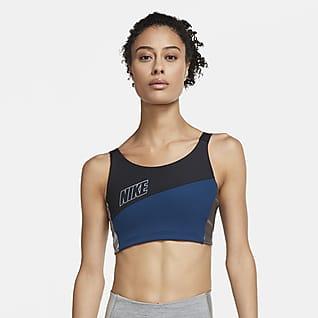 Nike Swoosh Dámská metalická sportovní podprsenka se střední oporou ajednodílnou vycpávkou