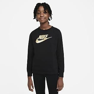 Nike Sportswear Francia frottír kerek nyakkivágású pulóver nagyobb gyerekeknek (lányok)