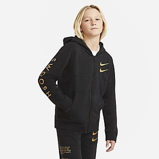 Nike Sportswear Swoosh Μπλούζα με κουκούλα και φερμουάρ σε όλο το μήκος για μεγάλα αγόρια