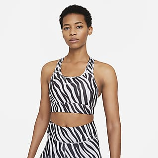 Nike Dri-FIT Swoosh Icon Clash Brassière de sport longue à maintien normal avec coussinet une pièce pour Femme