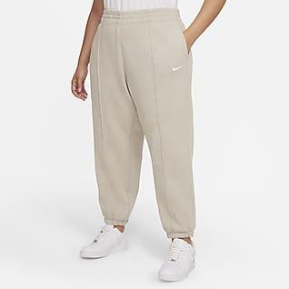Nike Sportswear Essential Collection Damskie spodnie z dzianiny z efektem sprania (duże rozmiary)